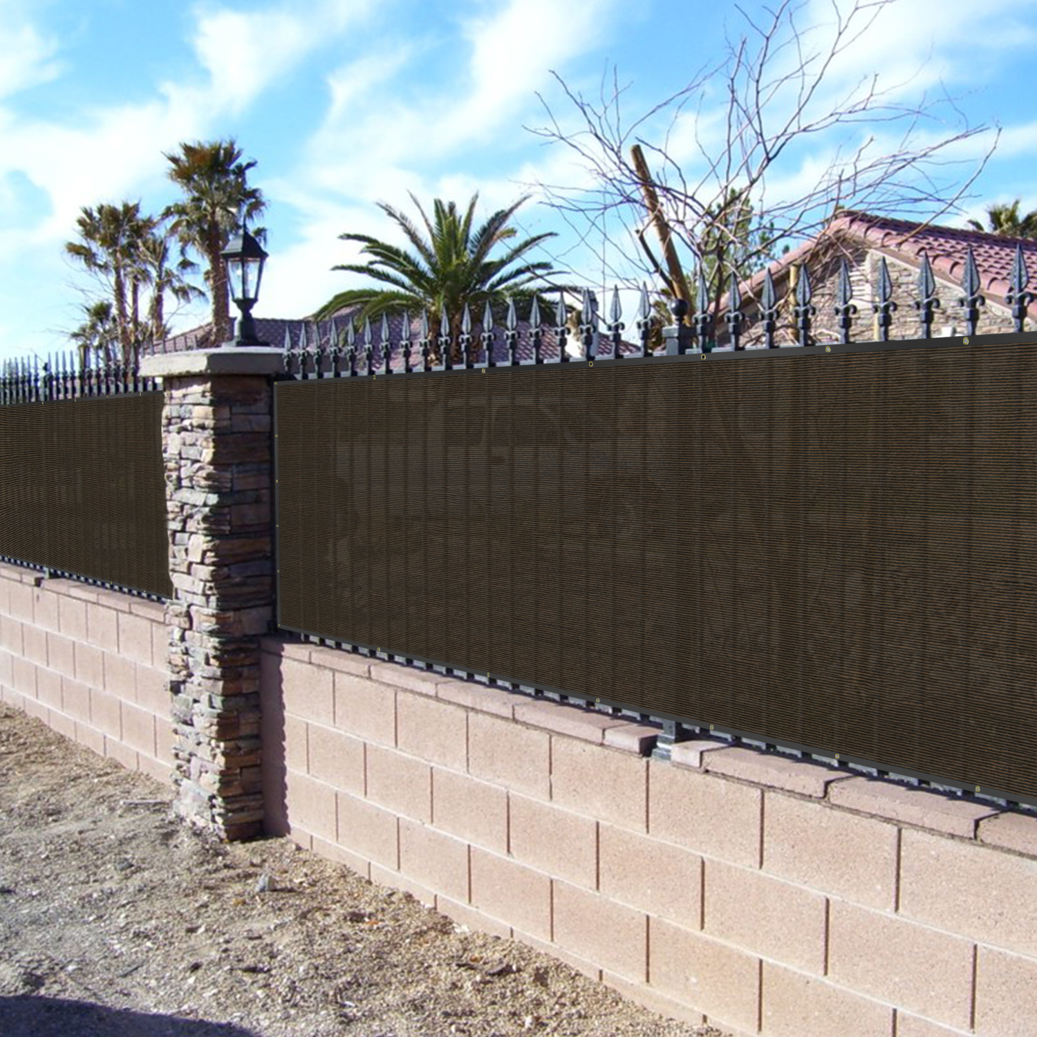 Bouya Brown Privacy Fence Screen 4 X 50 Heavy Duty For Chain Link Commercial Outdoor Shade Windscreen Mesh Fabric With Br Gromment